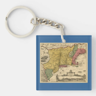 1685 Map - New Belgium, The New World, New England Double-Sided Square Acrylic Keychain