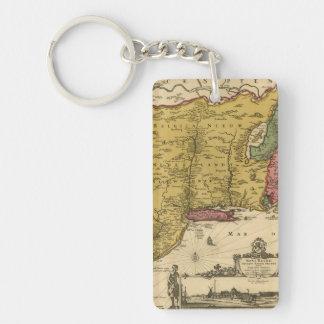 1685 Map - New Belgium, The New World, New England Double-Sided Rectangular Acrylic Keychain