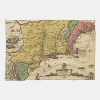 1685 Map - New Belgium The New World New England Hand Towels