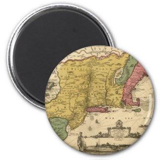 1685 Map - New Belgium, The New World, New England Refrigerator Magnet