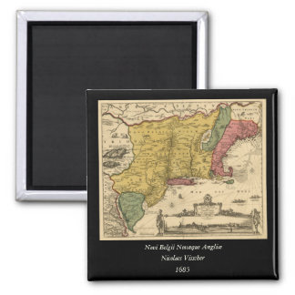 1685 Map - New Belgium, The New World, New England Magnets