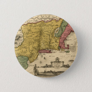 1685 Map - New Belgium, The New World, New England Pinback Button