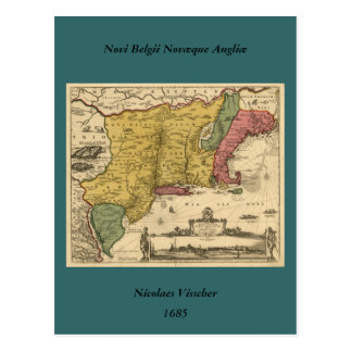 1685 Map - New Belgium The New World New England Post Card