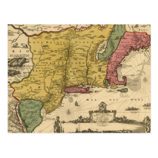 1685 Map - New Belgium, The New World, New England Postcard
