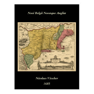 1685 Map - New Belgium The New World New England Post Cards