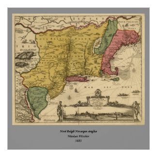 1685 Map - New Belgium, The New World, New England Poster