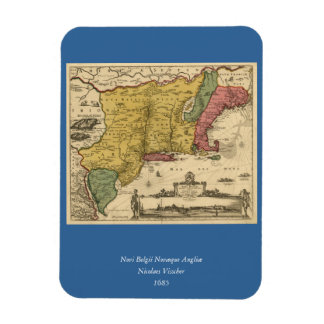 1685 Map - New Belgium, The New World, New England Vinyl Magnet