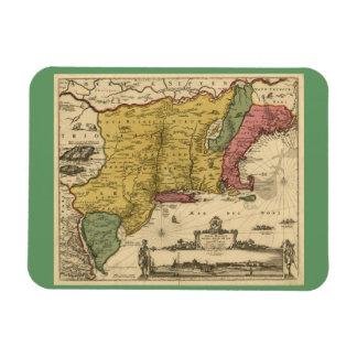 1685 Map - New Belgium, The New World, New England Rectangular Magnets