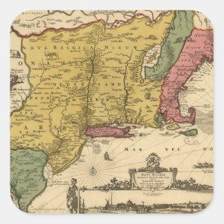 1685 Map - New Belgium, The New World, New England Square Sticker