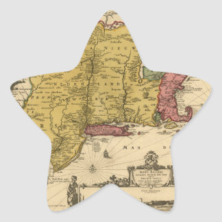 1685 Map - New Belgium, The New World, New England Star Sticker