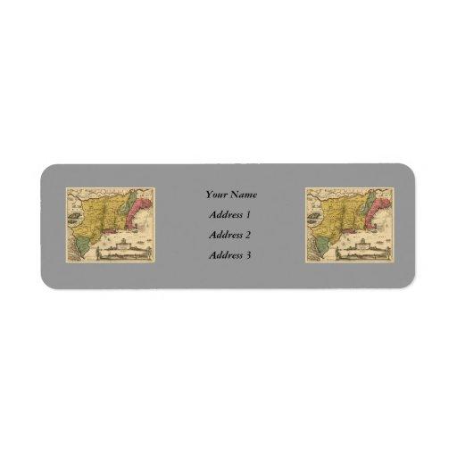 1685 mapa - nueva Bélgica, el nuevo mundo, Nueva I Etiquetas De Remite