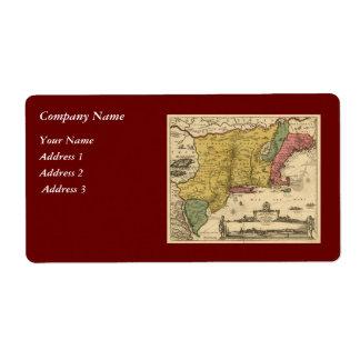 1685 mapa - nueva Bélgica, el nuevo mundo, Nueva I Etiquetas De Envío