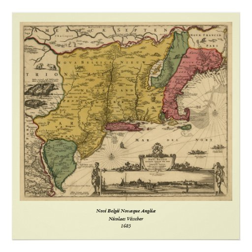 1685 mapa - nueva Bélgica, el nuevo mundo, Nueva I Posters
