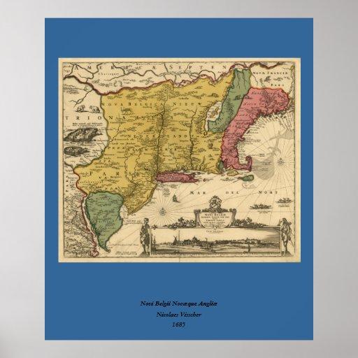1685 mapa - nueva Bélgica, el nuevo mundo, Nueva I Póster