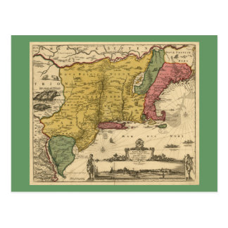 1685 mapa - nueva Bélgica, el nuevo mundo, Nueva I Postal