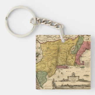1685 mapa - nueva Bélgica, el nuevo mundo, Nueva Llavero Cuadrado Acrílico A Doble Cara
