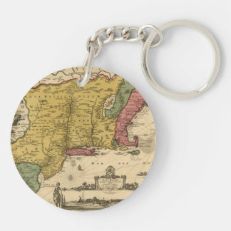 1685 mapa - nueva Bélgica, el nuevo mundo, Nueva Llavero Redondo Acrílico A Doble Cara