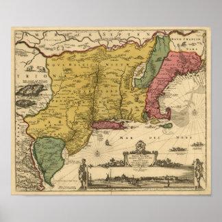 1685 mapa - nueva Bélgica, el nuevo mundo, Nueva Póster