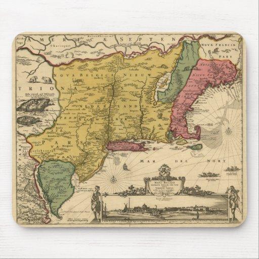 1685 mapa - nueva Bélgica, el nuevo mundo, Nueva Tapete De Ratones