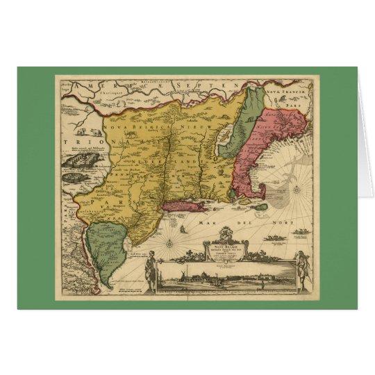 1685 mapa - nueva Bélgica, el nuevo mundo, Nueva Tarjeta De Felicitación