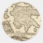 1688 Greece / Greek Peloponnesian Map Classic Round Sticker