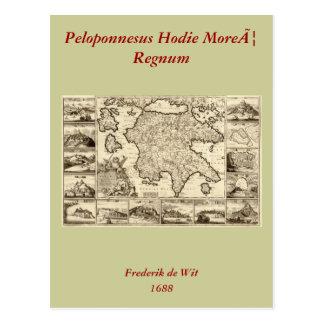 1688 Greece / Greek Peloponnesian Map Postcard