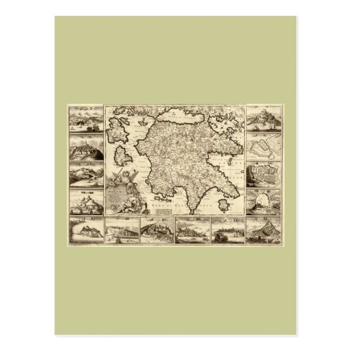 1688 Greece / Greek Peloponnesian Map Postcard