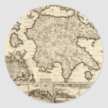 1688 Greece / Greek Peloponnesian Map Round Sticker