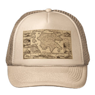 1688 Greece / Greek Peloponnesian Map Trucker Hat