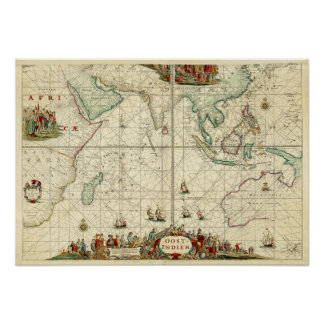 1690 Sea Chart from Dutch East India Company Poster