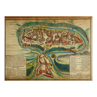 1691 French Map of the City of Kamianets Podilskyi Print