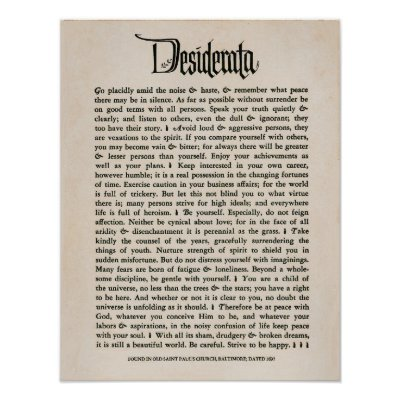 picture regarding The Desiderata Poem Printable identify Desiderata Poster