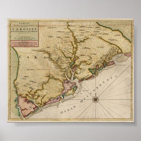 1696 Carolina Map Poster