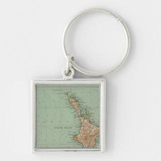 169 Nueva Zelanda, Hawaii, Tasmania Llavero Cuadrado Plateado