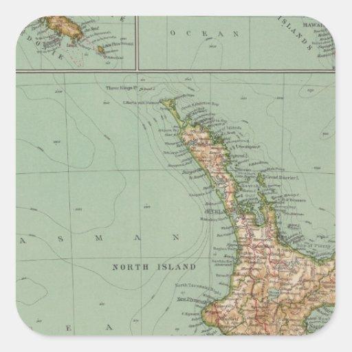169 Nueva Zelanda, Hawaii, Tasmania Pegatina Cuadrada
