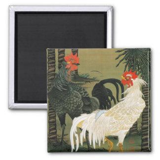 16. 棕櫚雄鶏図, 若冲 Palm Tree & Rooster, Jakuchū 2 Inch Square Magnet