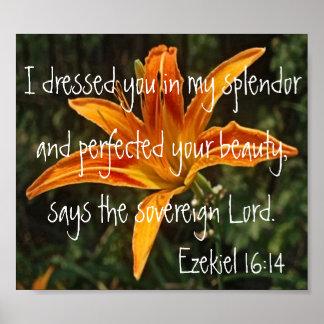 16:14 de Ezekiel del verso de la biblia del lirio  Póster