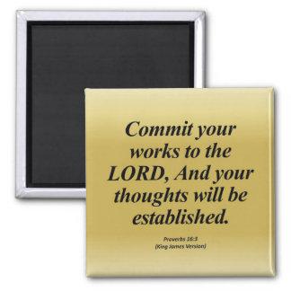 16:3 Abbrev de los proverbios del logro Imán Cuadrado