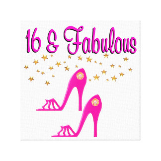 16 AND FABULOUS 16TH BIRTHDAY DESIGN CANVAS PRINT