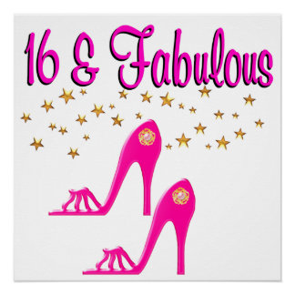 16 AND FABULOUS 16TH BIRTHDAY DESIGN POSTER
