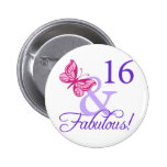 16 And Fabulous Birthday Pinback Buttons