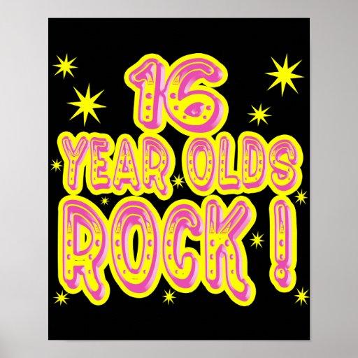 ¡16 años de la roca! Impresión (rosada) del poster