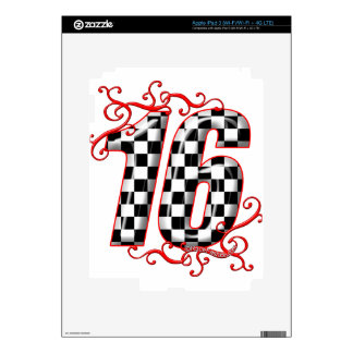 16 auto racing number iPad 3 skin