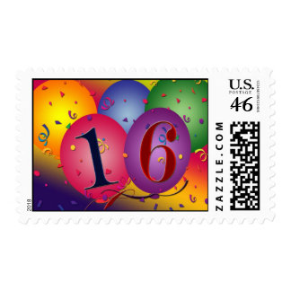 16 Birthday Balloons Stamps