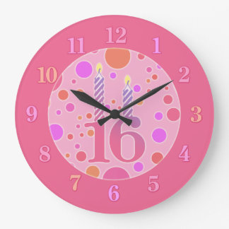 16 Birthday Candle Large Clock