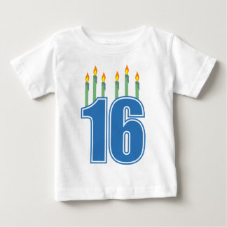 16 Birthday Candles (Blue / Green) Baby T-Shirt