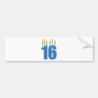 16 Birthday Candles (Blue / Green) Bumper Sticker