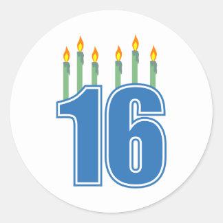 16 Birthday Candles (Blue / Green) Classic Round Sticker