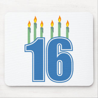 16 Birthday Candles (Blue / Green) Mouse Pad