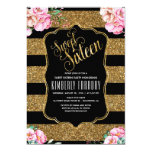 Hand shaped 16 Birthday Party - Sweet Sixteen Gold Glitter Card